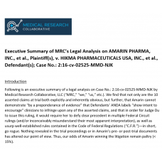 Executive Summary of Legal Analysis on Amarin, et al. v. Hikma, et al.